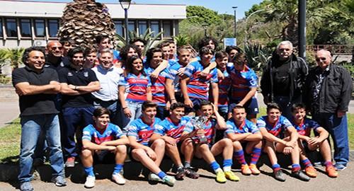 Il gruppo dell'Under 16 del Cus Catania alla premiazione alla Cittadella (Foto Giuseppe Maugeri)