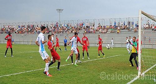Il gol di Noce con il Troina (Ph. Calcio Catania)