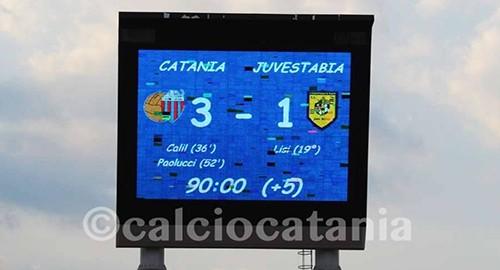 """Il risultato finale nel tabellone del """"Massimino"""" (Ph. Calciocatania)"""